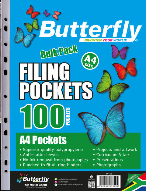 Butterfly Filing Pockets - A4 100's