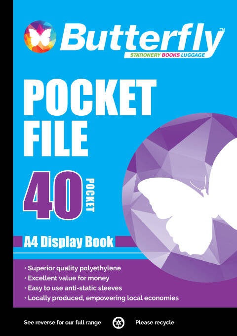 Butterfly Pocket File - A4 40 Page