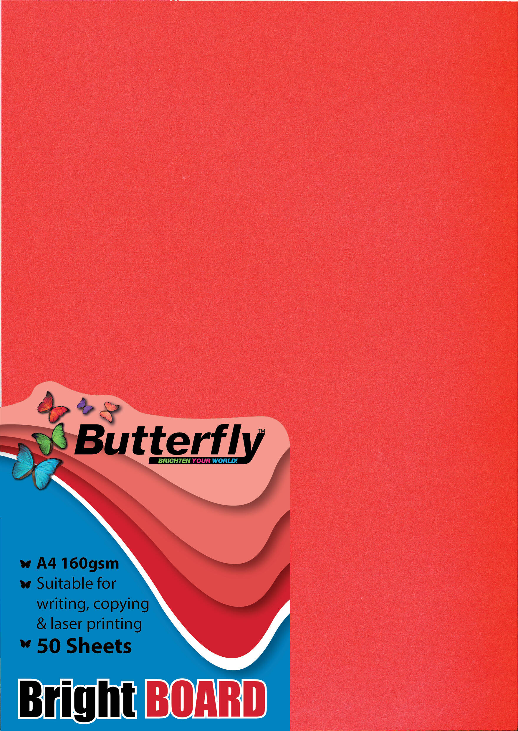 A4 Bright Board - Pack of 50 Red