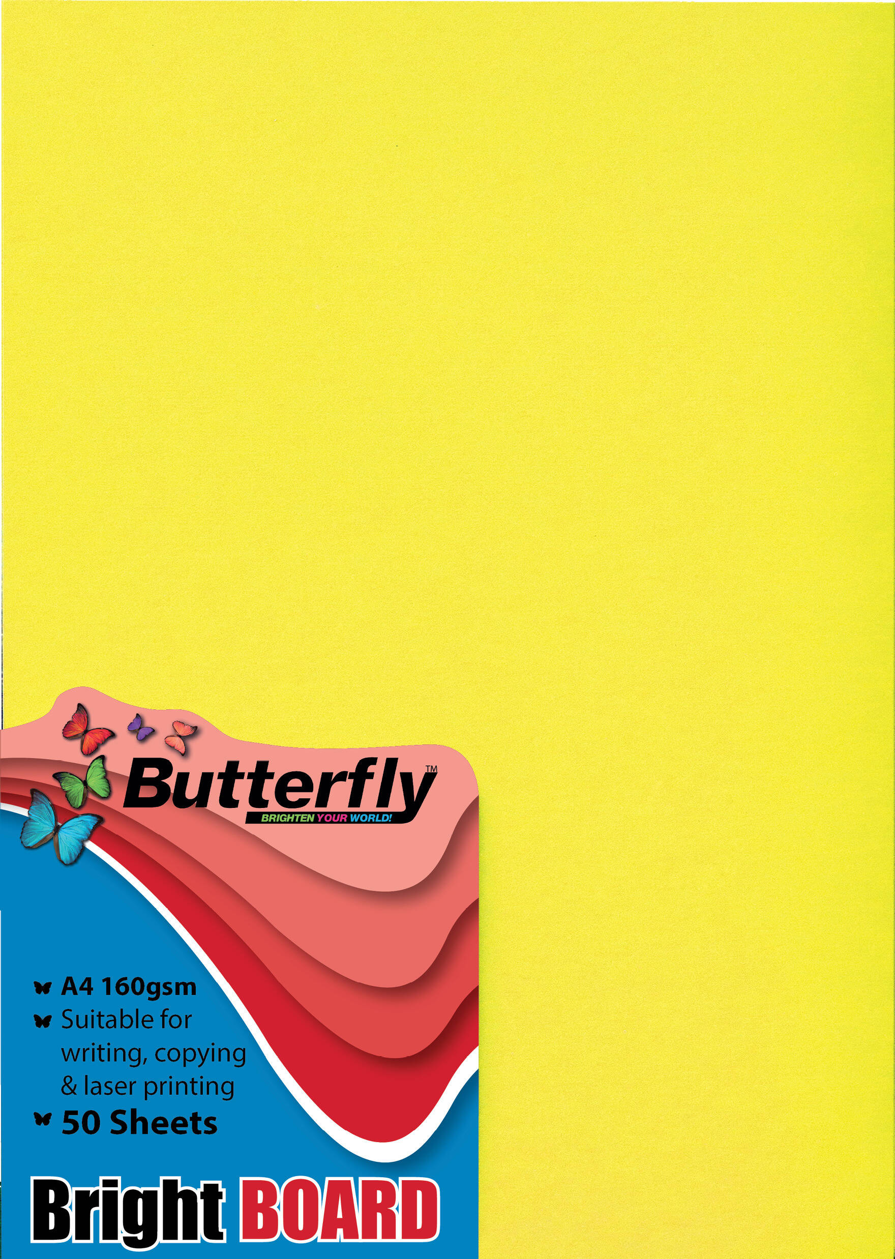 A4 Bright Board - Pack of 50 Yellow