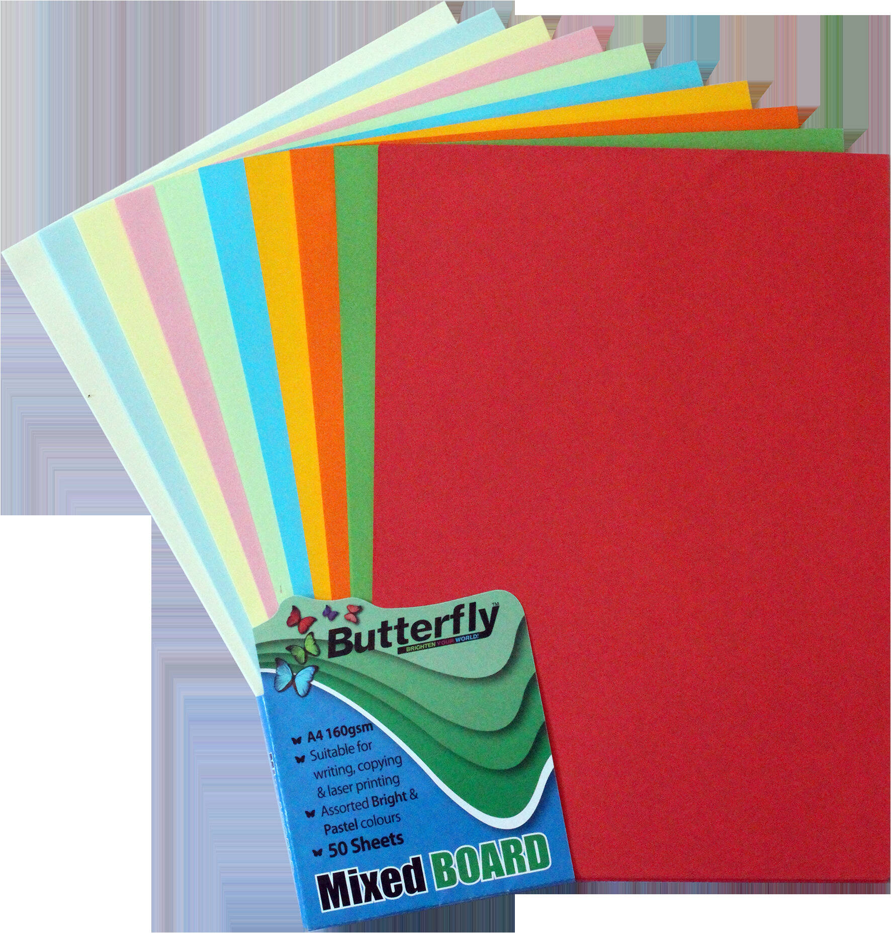 Assorted Bright & Pastel Board - 160gsm A4 50 Sheets