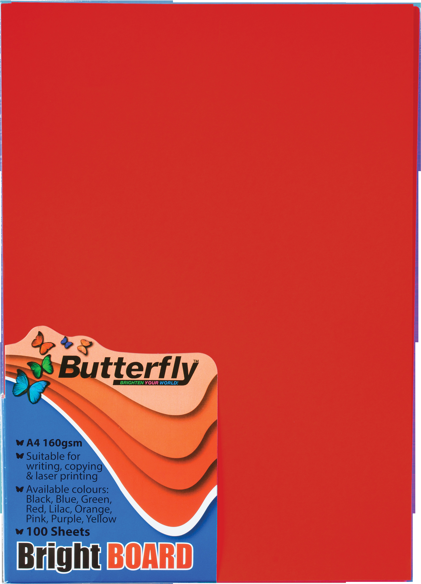 A4 Bright Board - Pack of 100 Red
