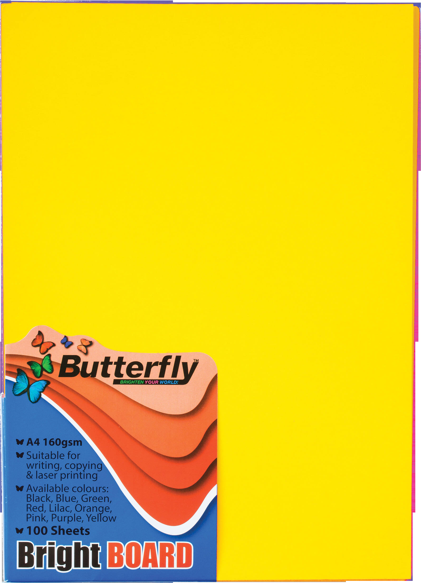 A4 Bright Board - Pack of 100 Yellow