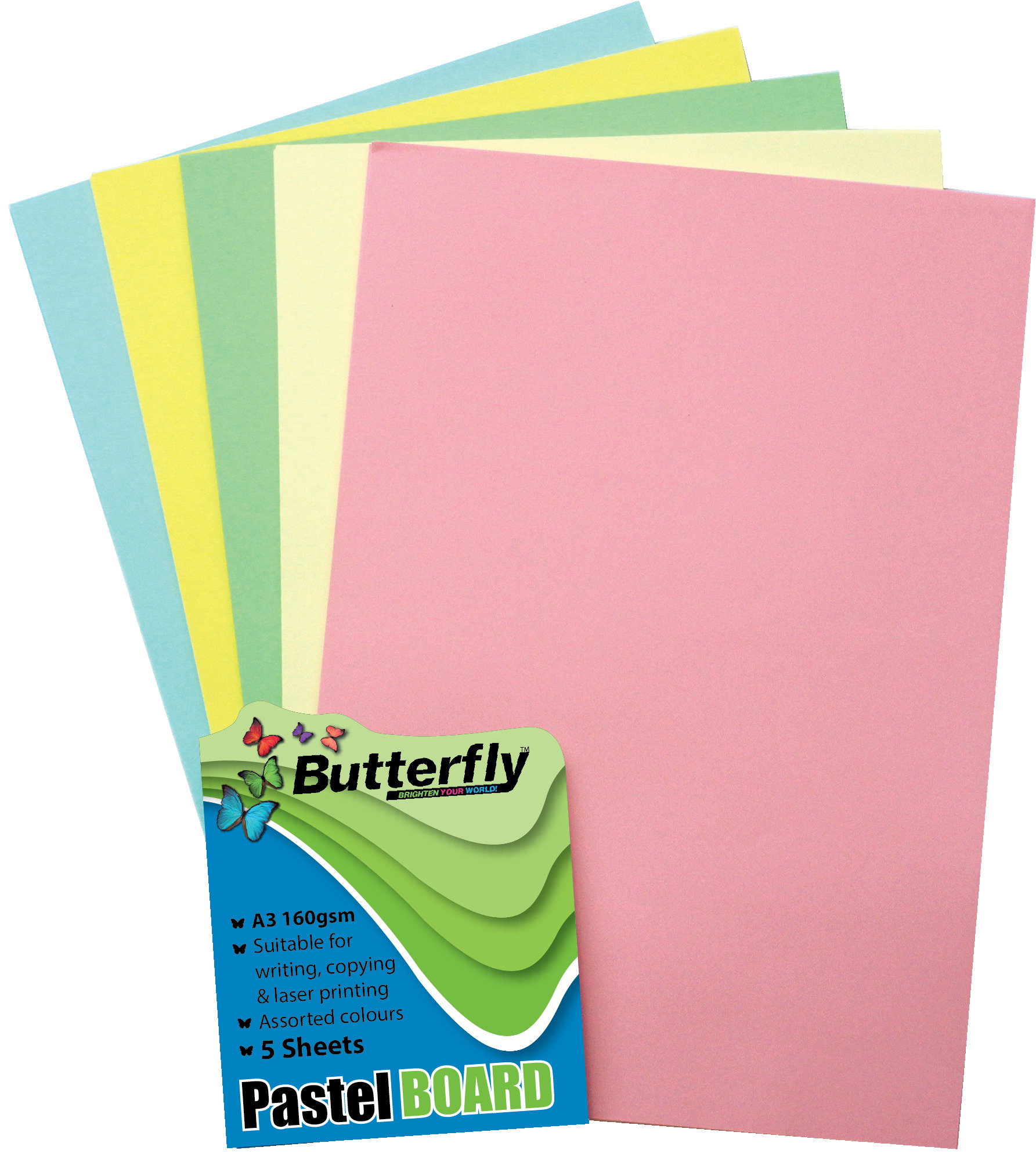 Assorted A3 Pastel Board - Pack of 5