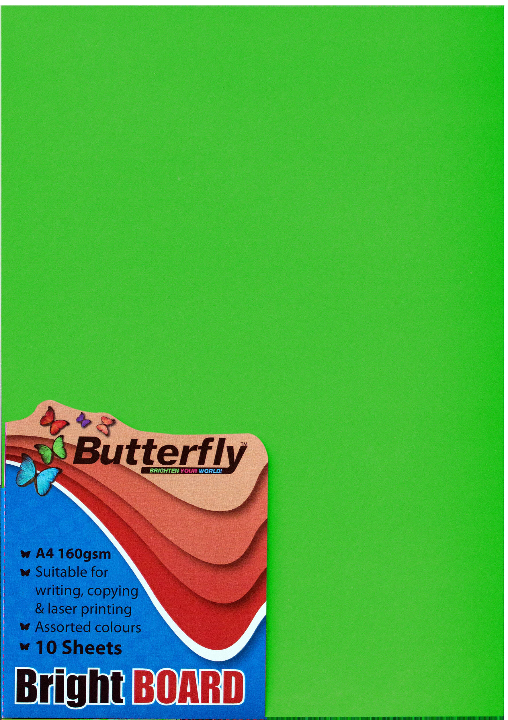 A4 Bright Board - Pack of 10 Green
