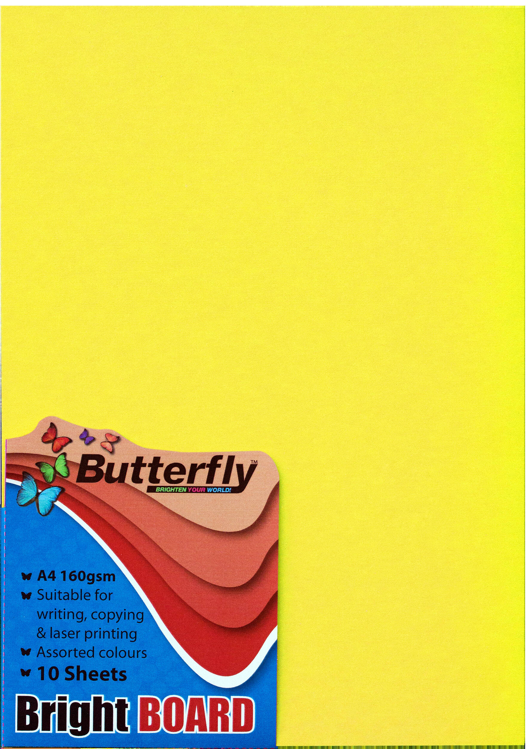 A4 Bright Board - Pack of 10 Yellow