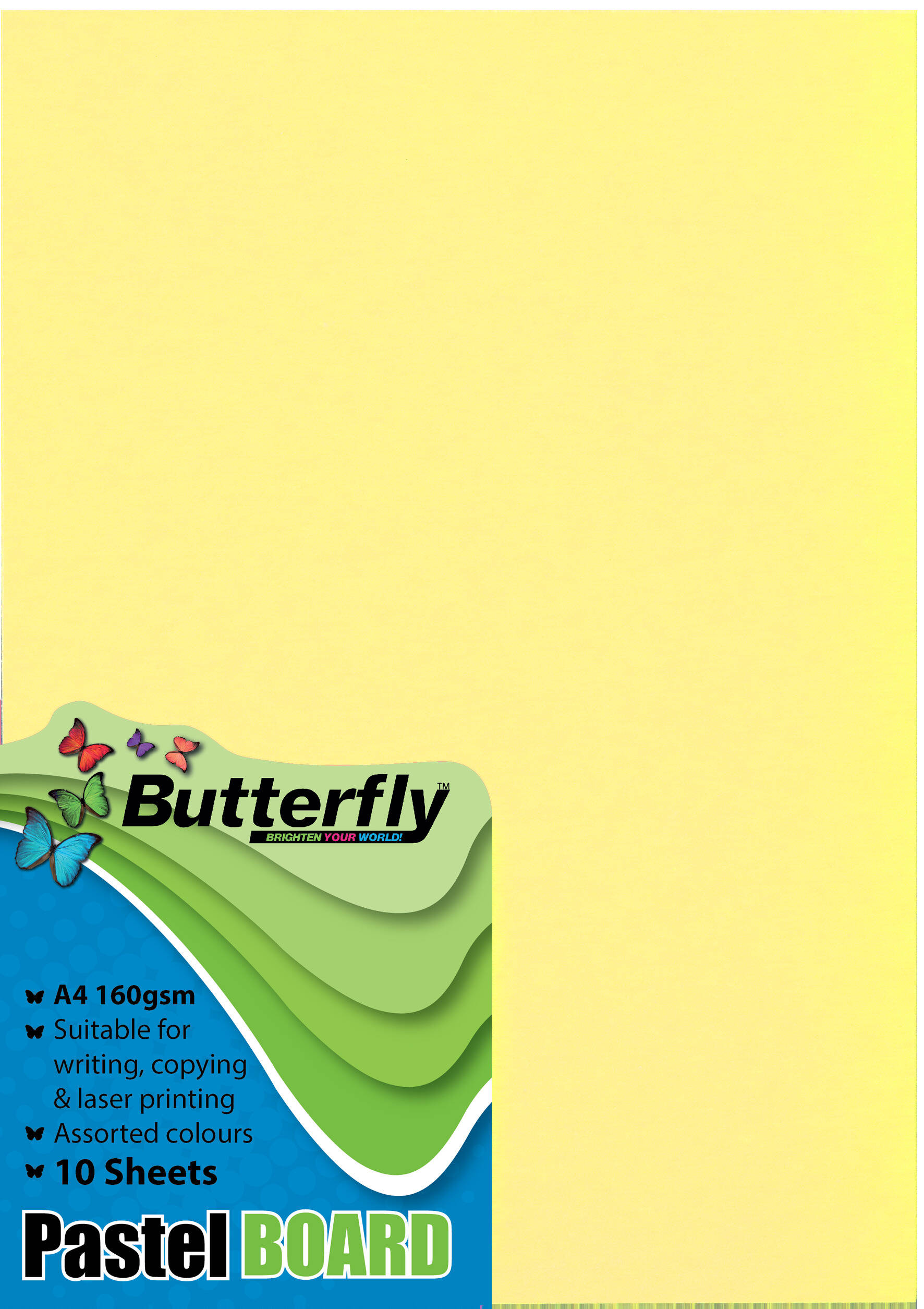 A4 Pastel Board - Pack of 10 Yellow