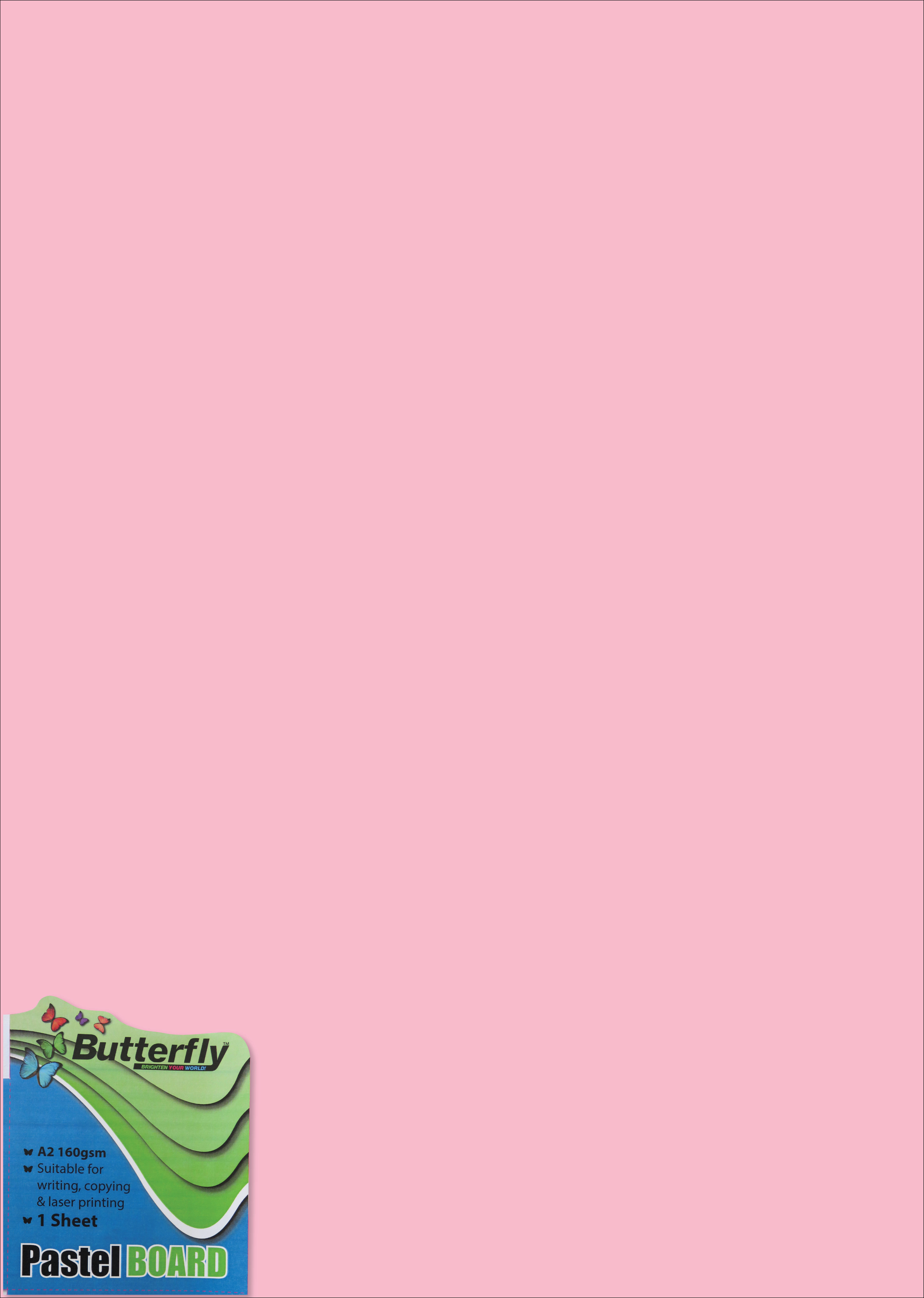 A2 Pastel Board - 160gsm Single Wrapped Pink