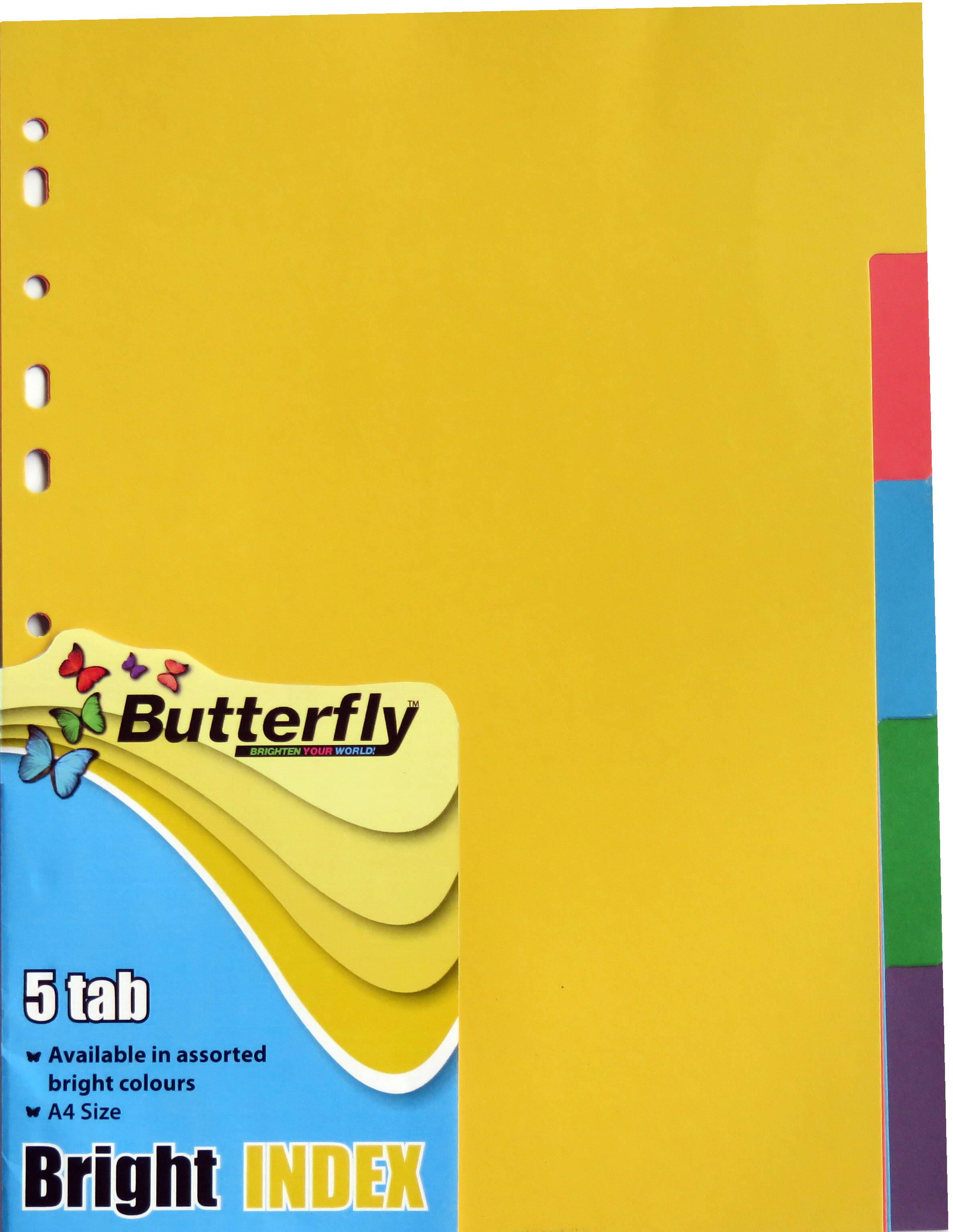 A4 File Dividers Bright Board - 5 Tab