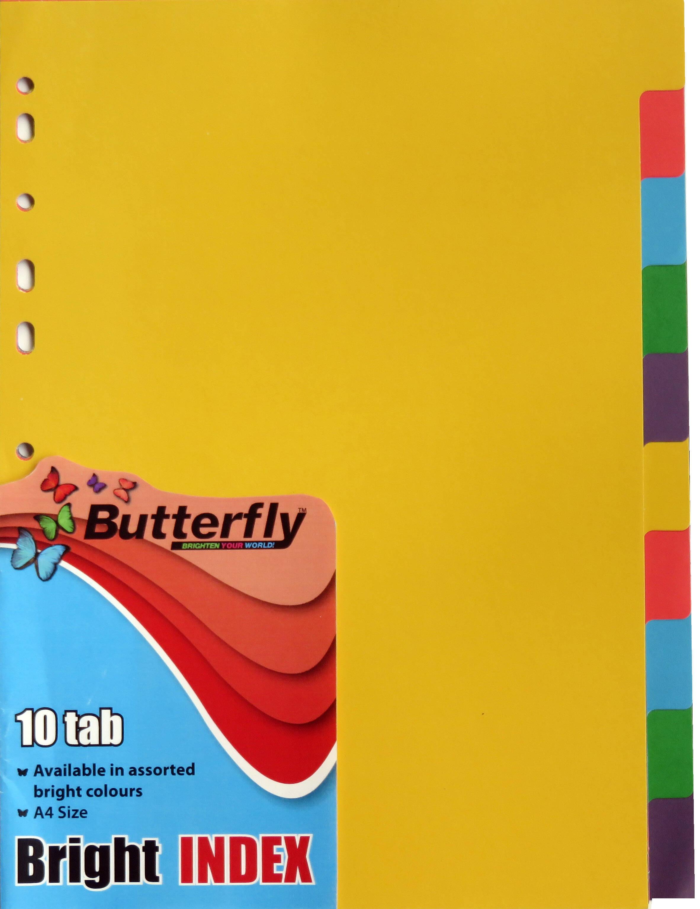 A4 File Dividers Bright Board - 10 Tab