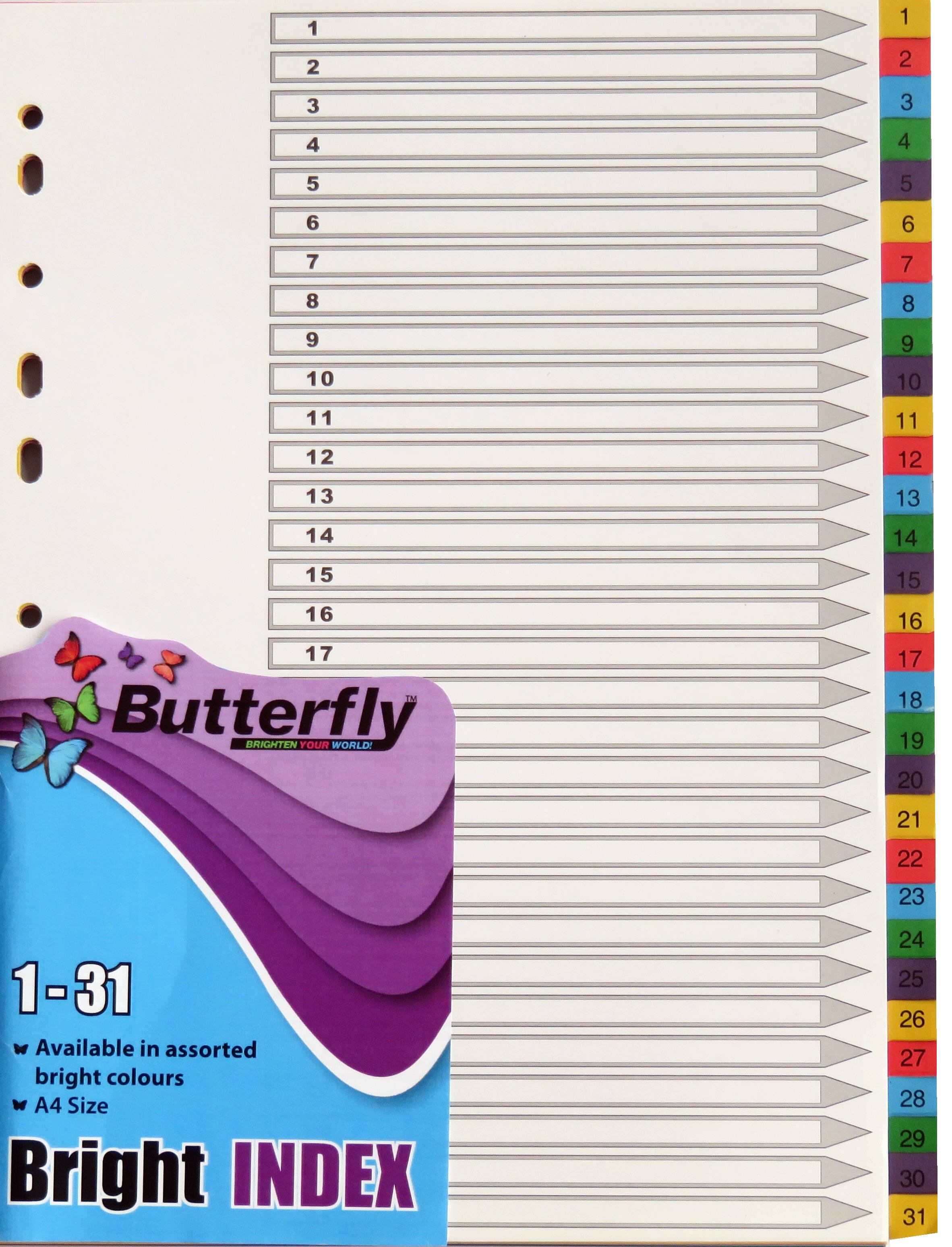 A4 File Dividers Bright Board - 31 Tab 1-31