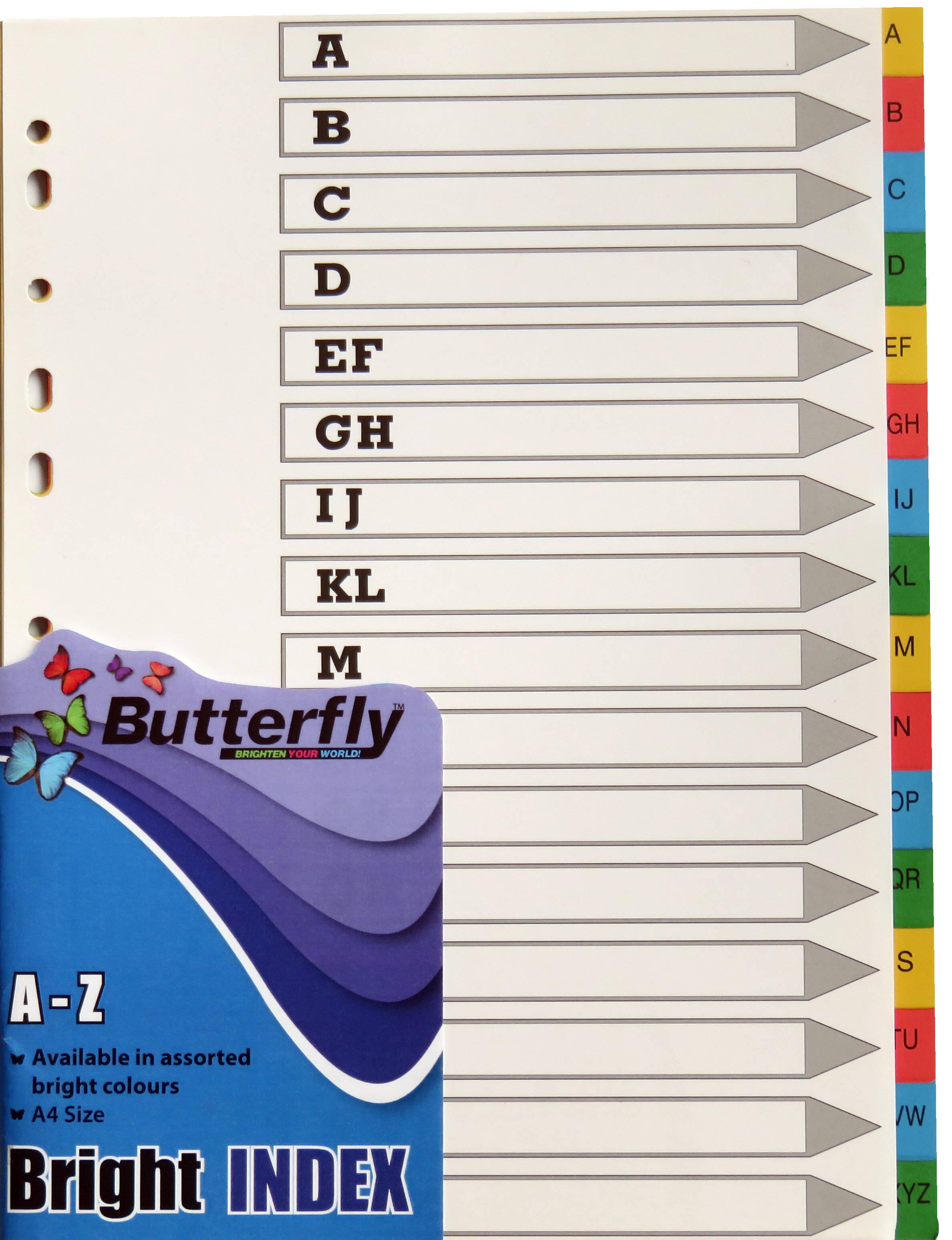 A4 File Dividers Bright Board - 16 Tab A-Z