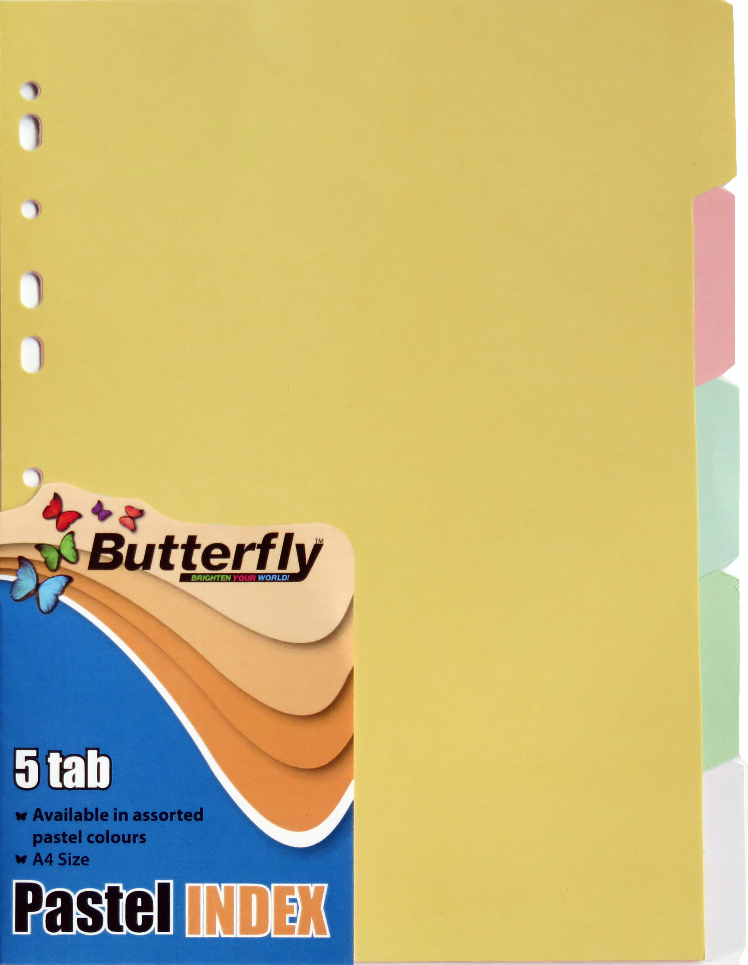 A4 File Dividers Pastel Board - 5 Tab