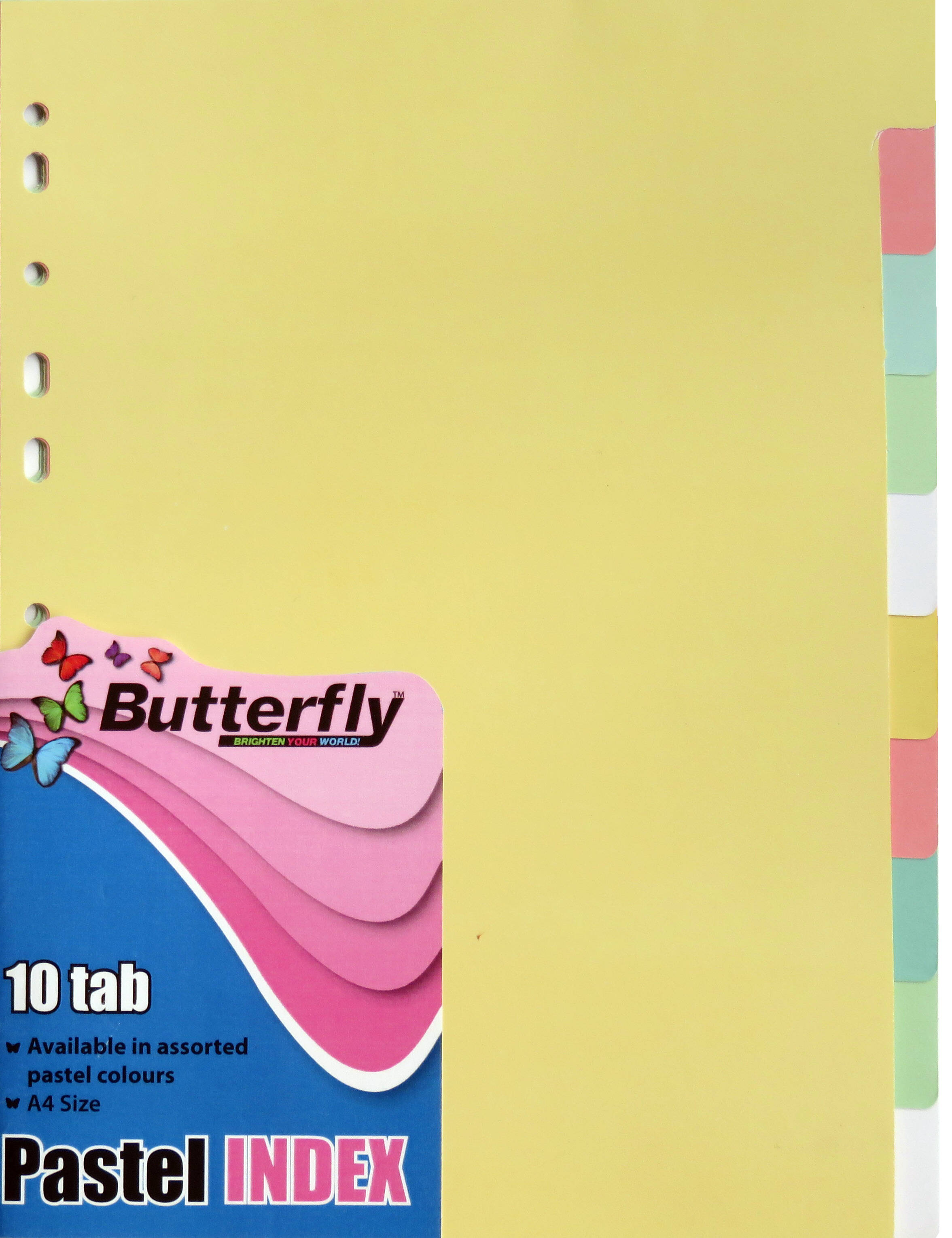 A4 File Dividers Pastel Board - 10 Tab