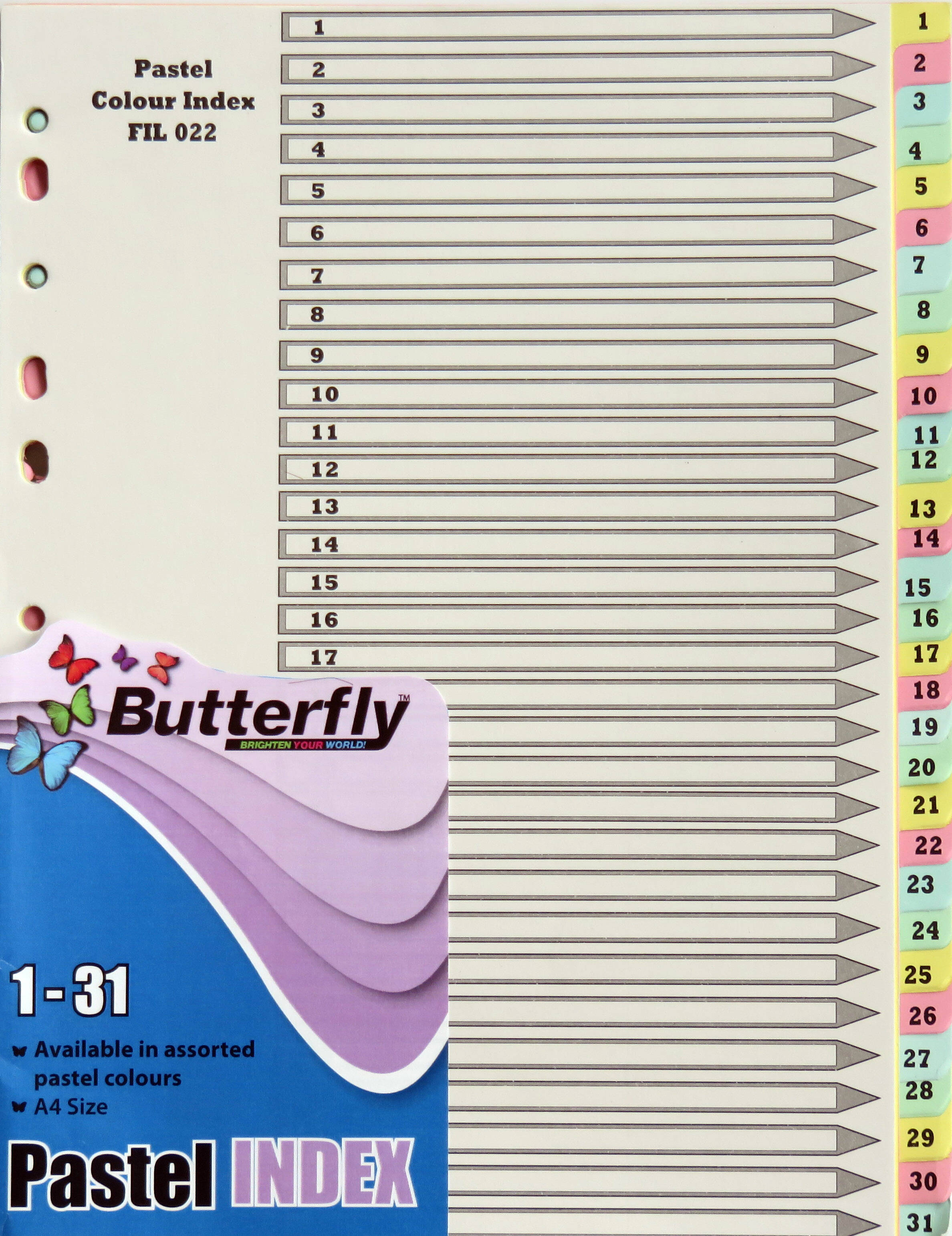 A4 File Dividers Pastel Board - 31 Tab 1-31