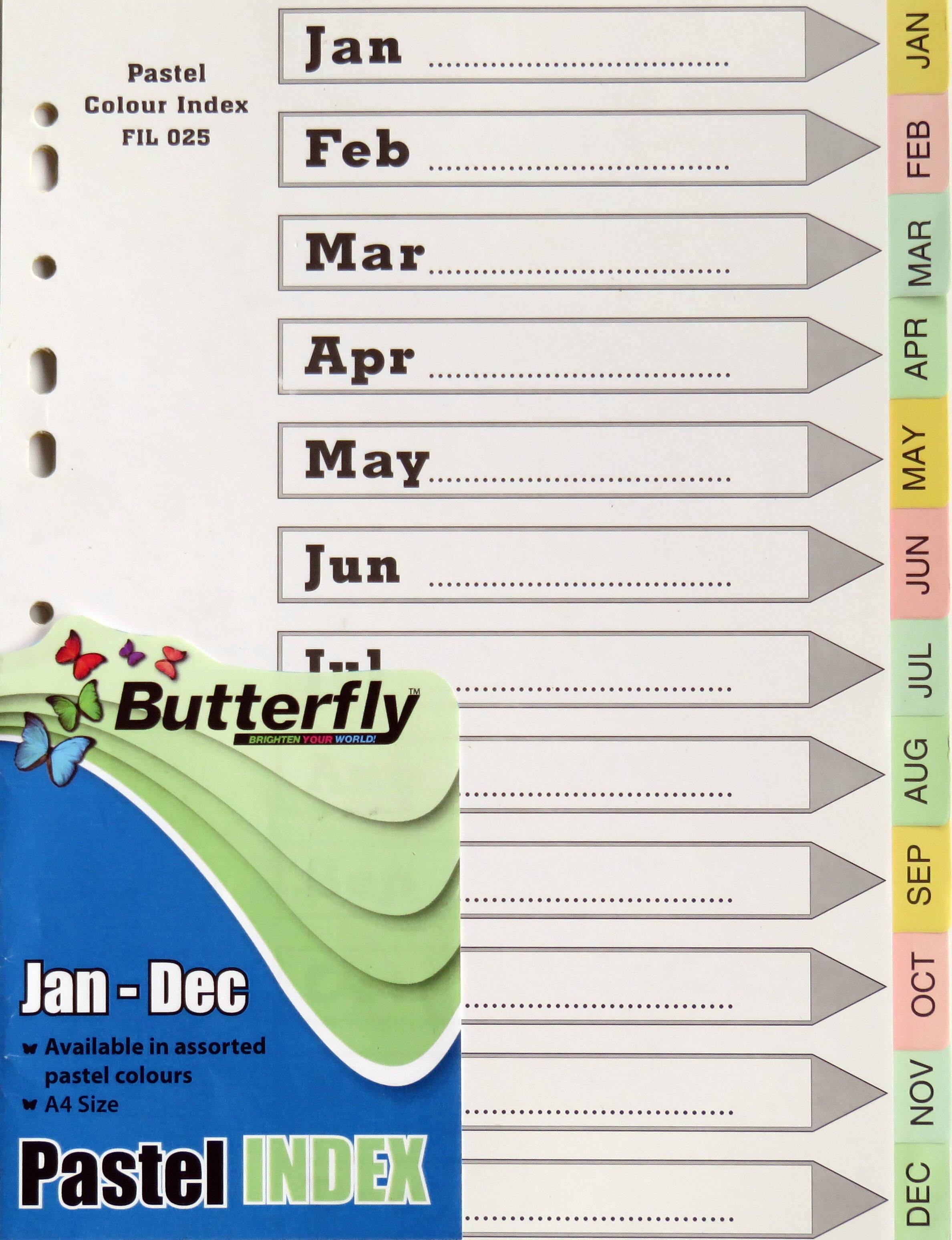 A4 File dividers Pastel Board Jan-Dec