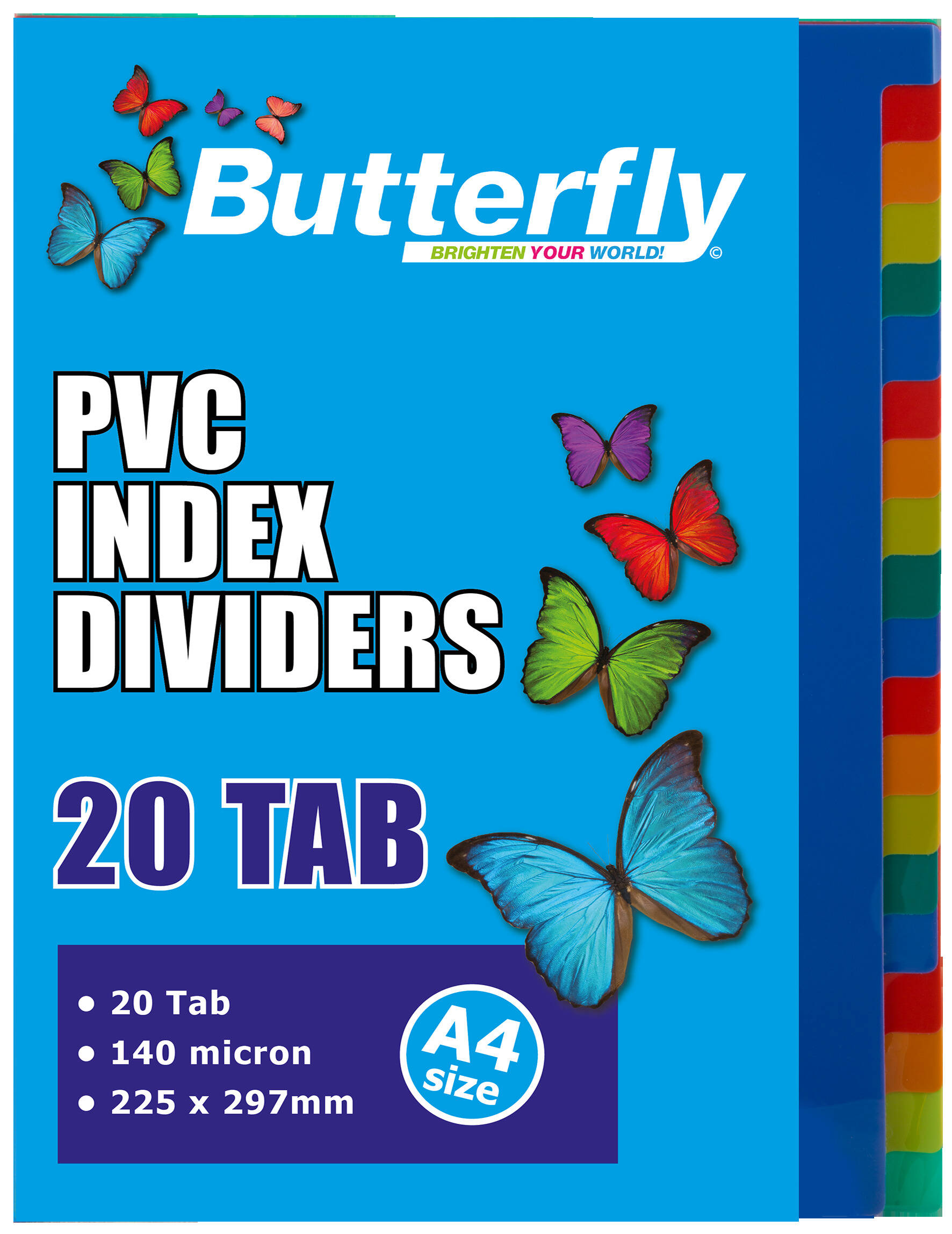 A4 File Dividers - 140 Micron - 20 Tab