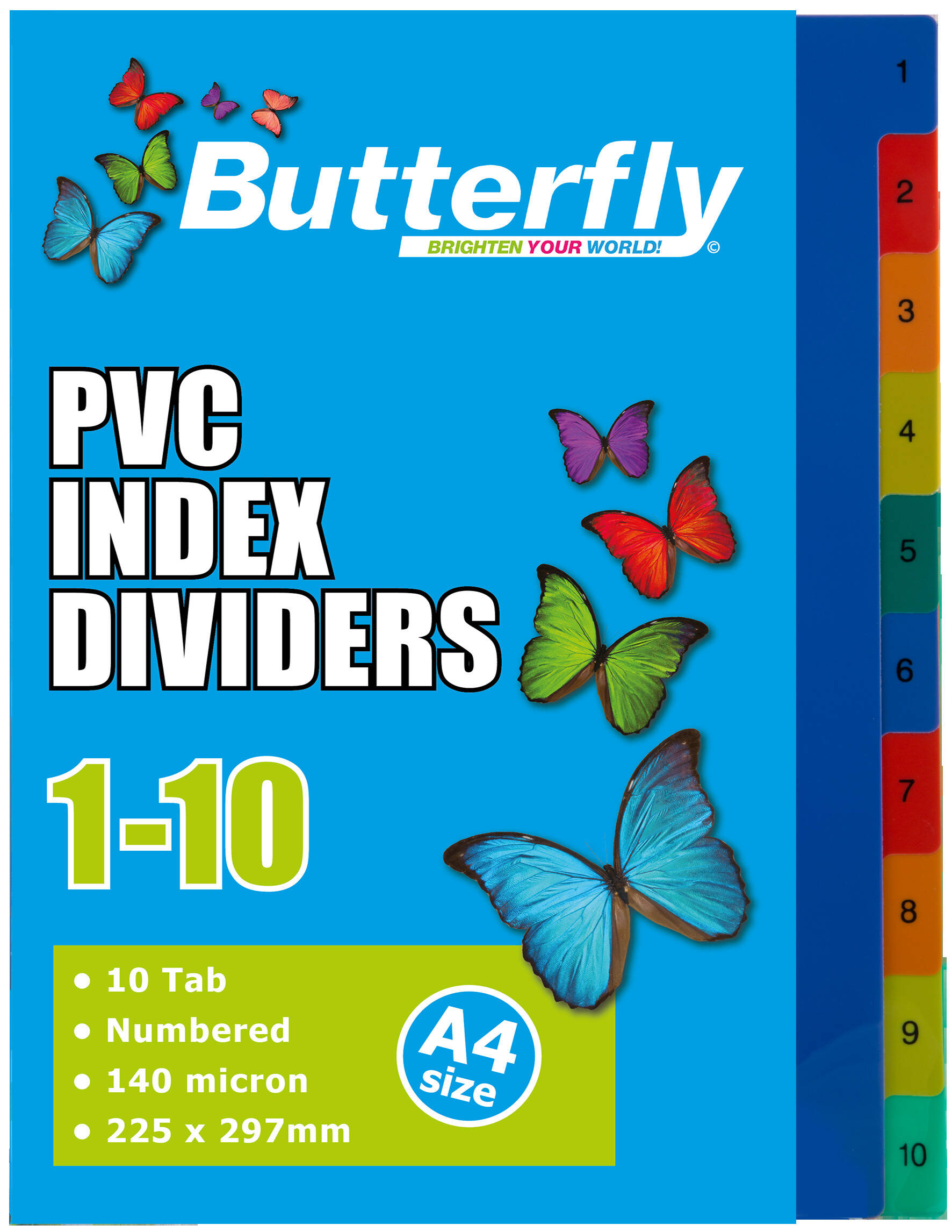 A4 File Dividers - 140 Micron - Numbered 1-10