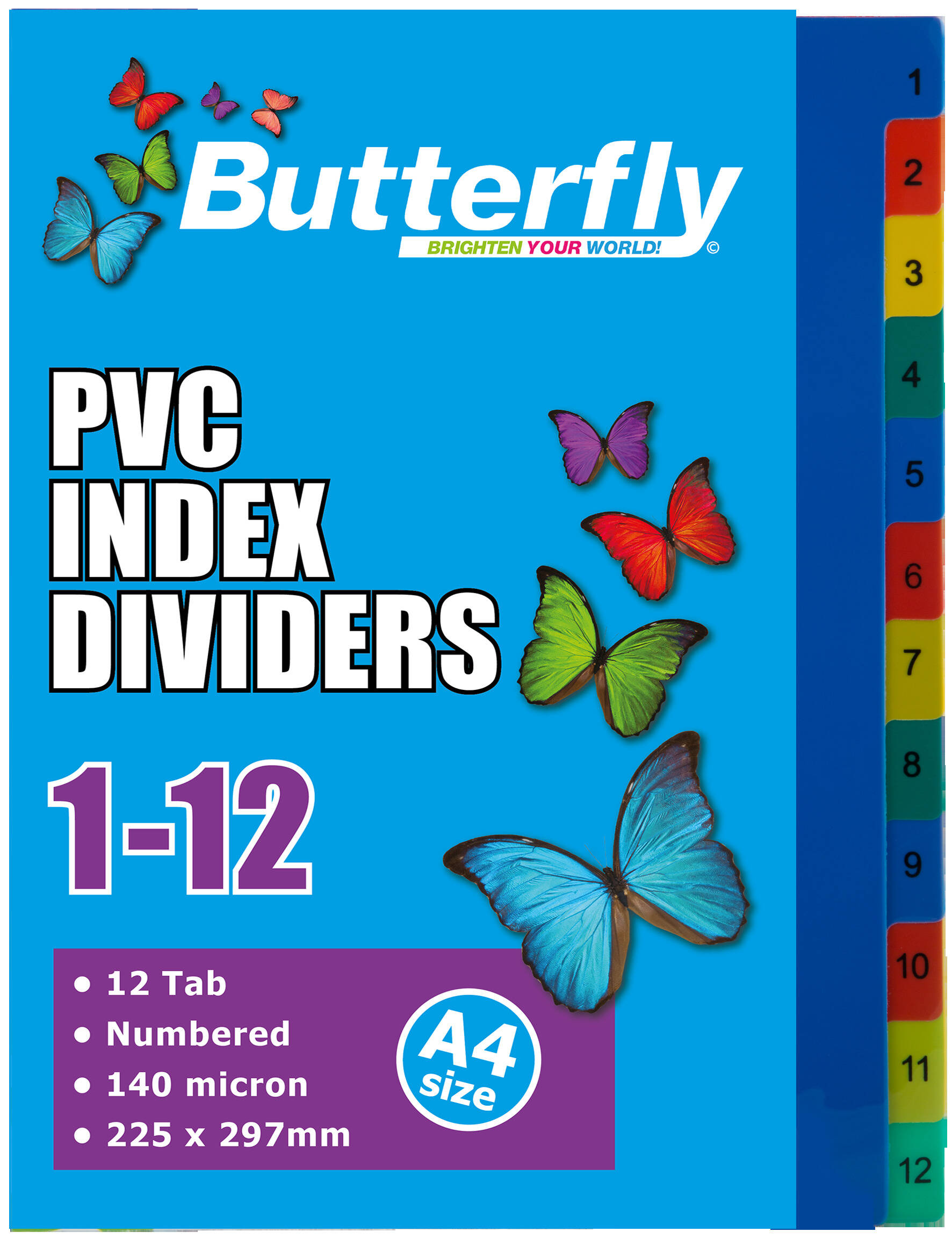 A4 File Dividers - 140 Micron - Numbered 1-12