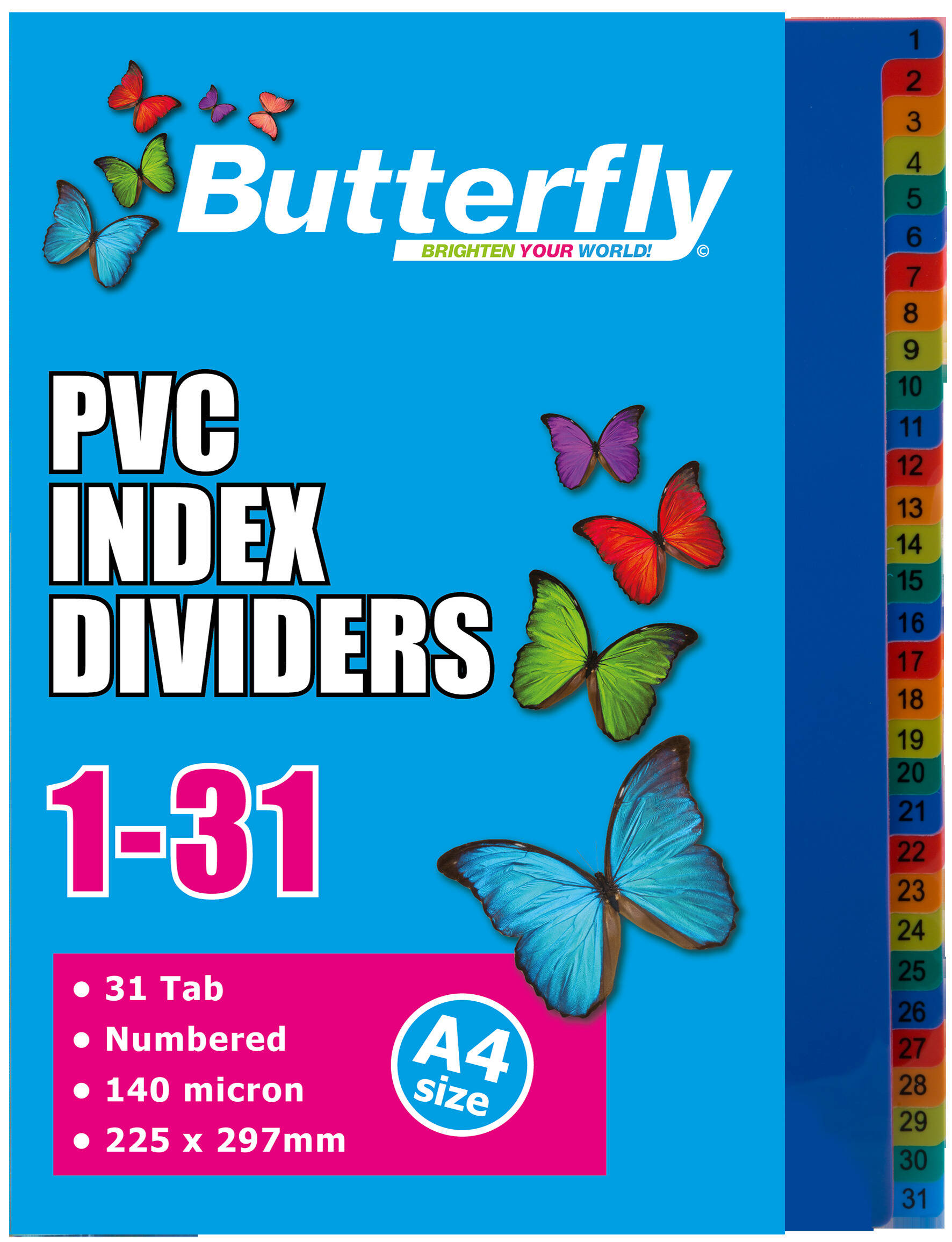 A4 File Dividers - 140 Micron - Numbered 1-31