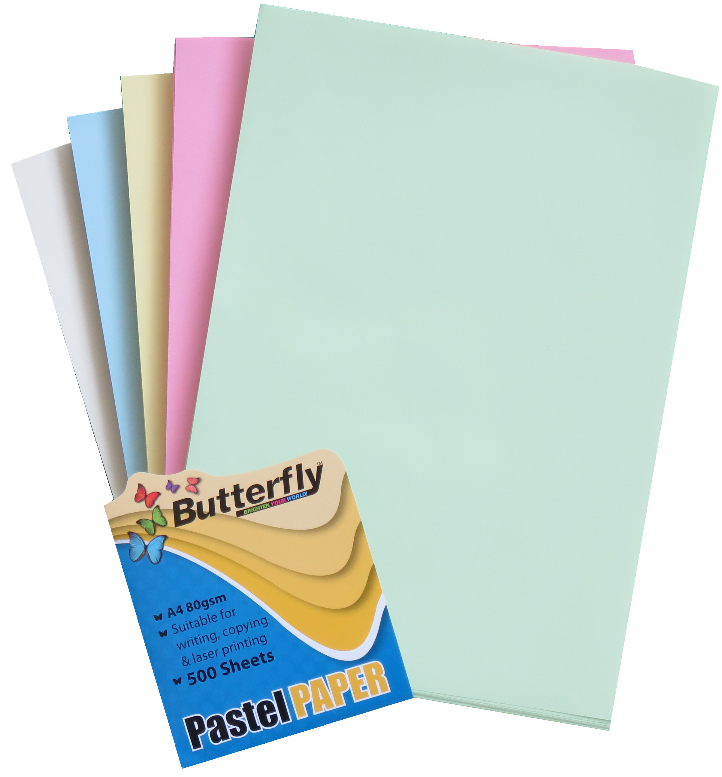 Mixed A4 Pastel Paper - Pack of 500 (100 of Each Colour)