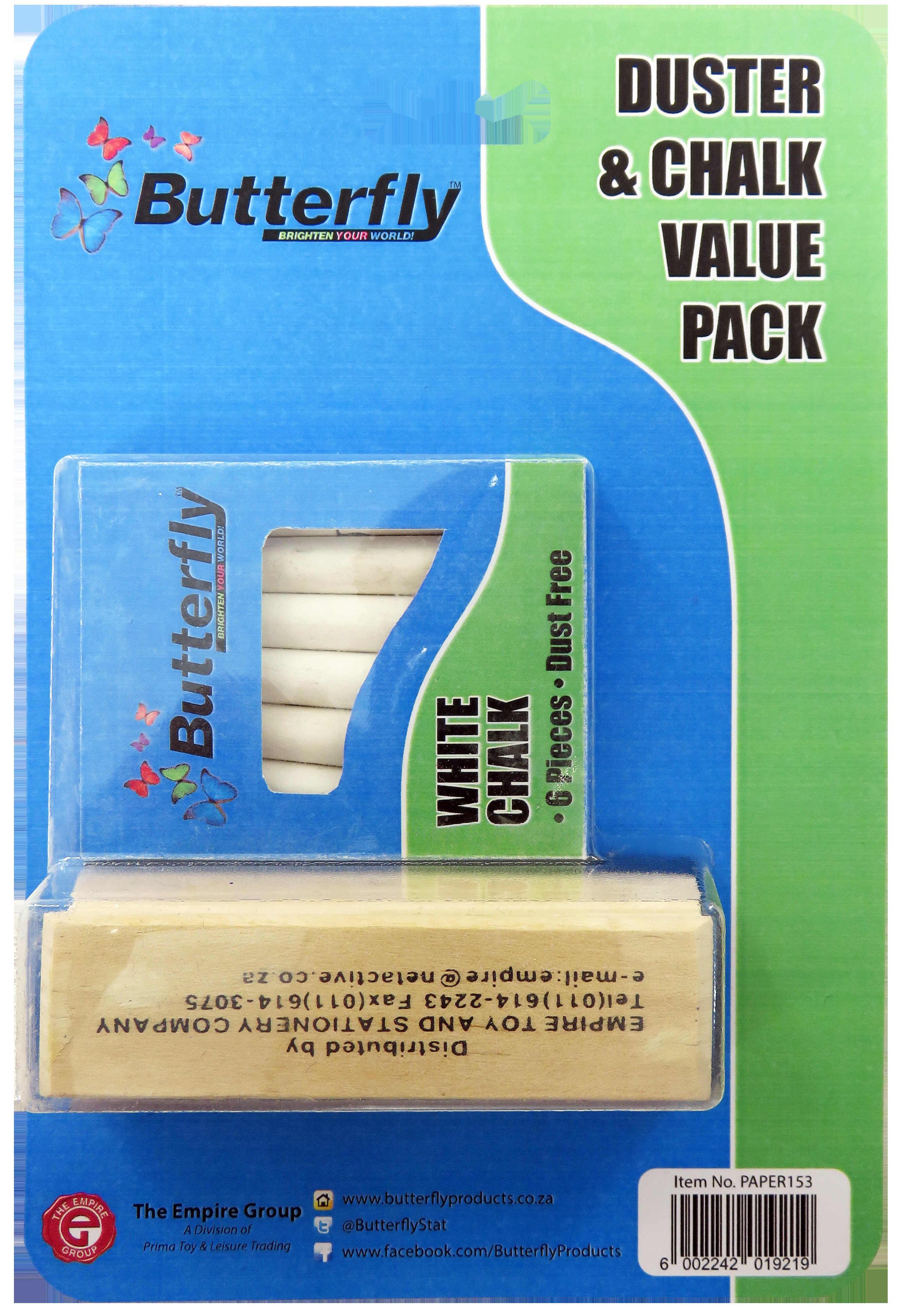 Blackboard Duster & 6 White Chalk Value Pack