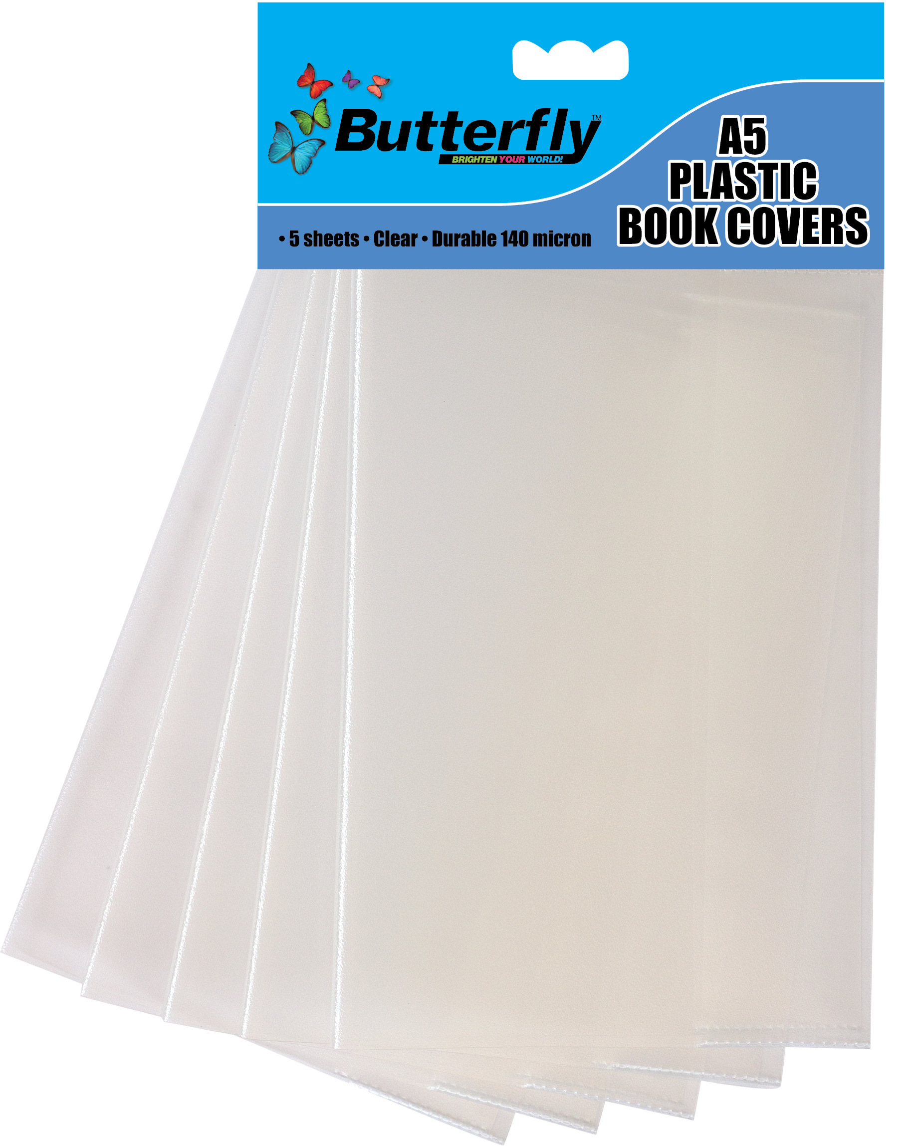 A5 Plastic Book Covers - Clear - 5 Pack 140 Micron