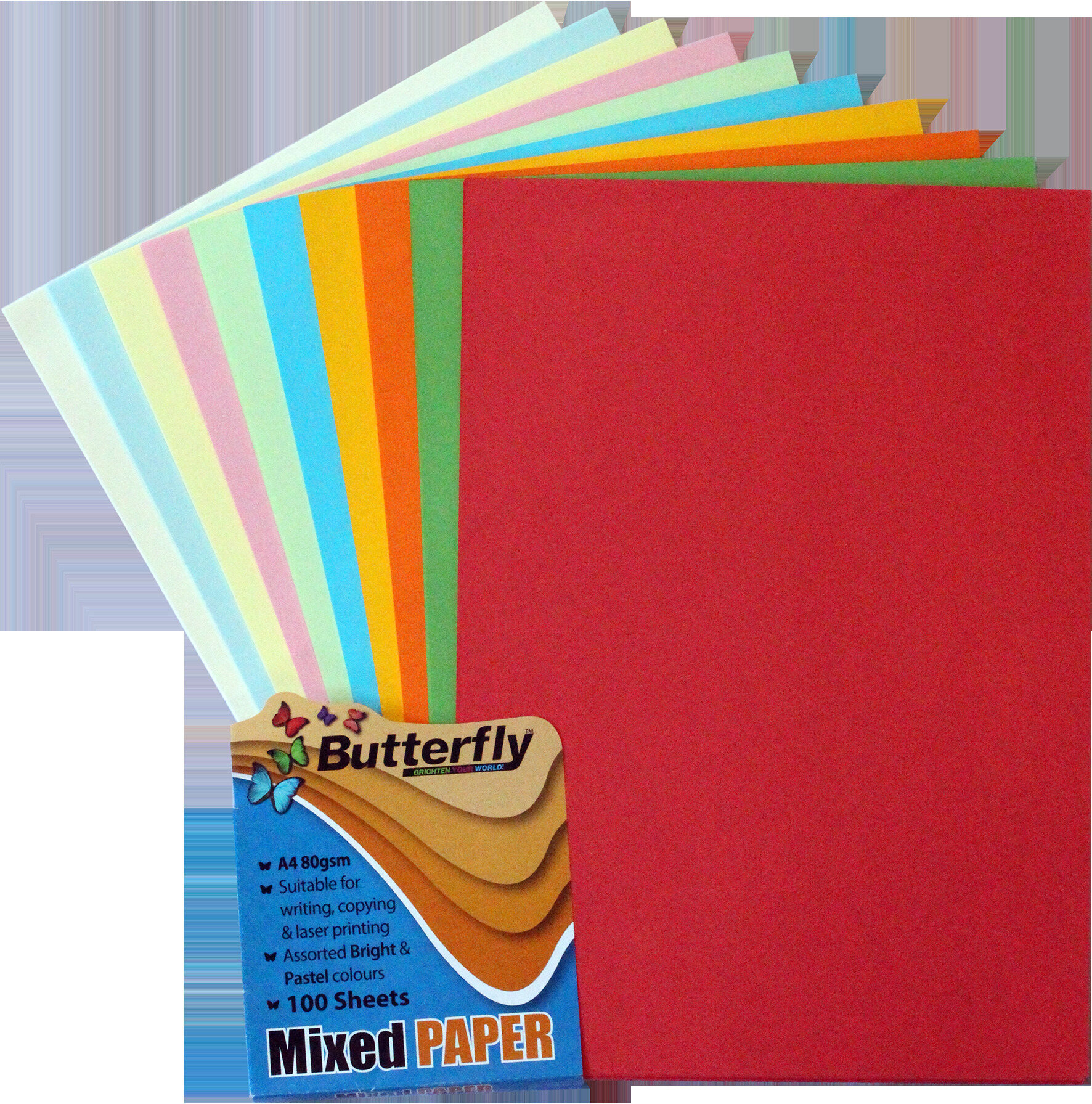 Assorted Bright & Pastel Paper - 80gsm A4 100 Sheets