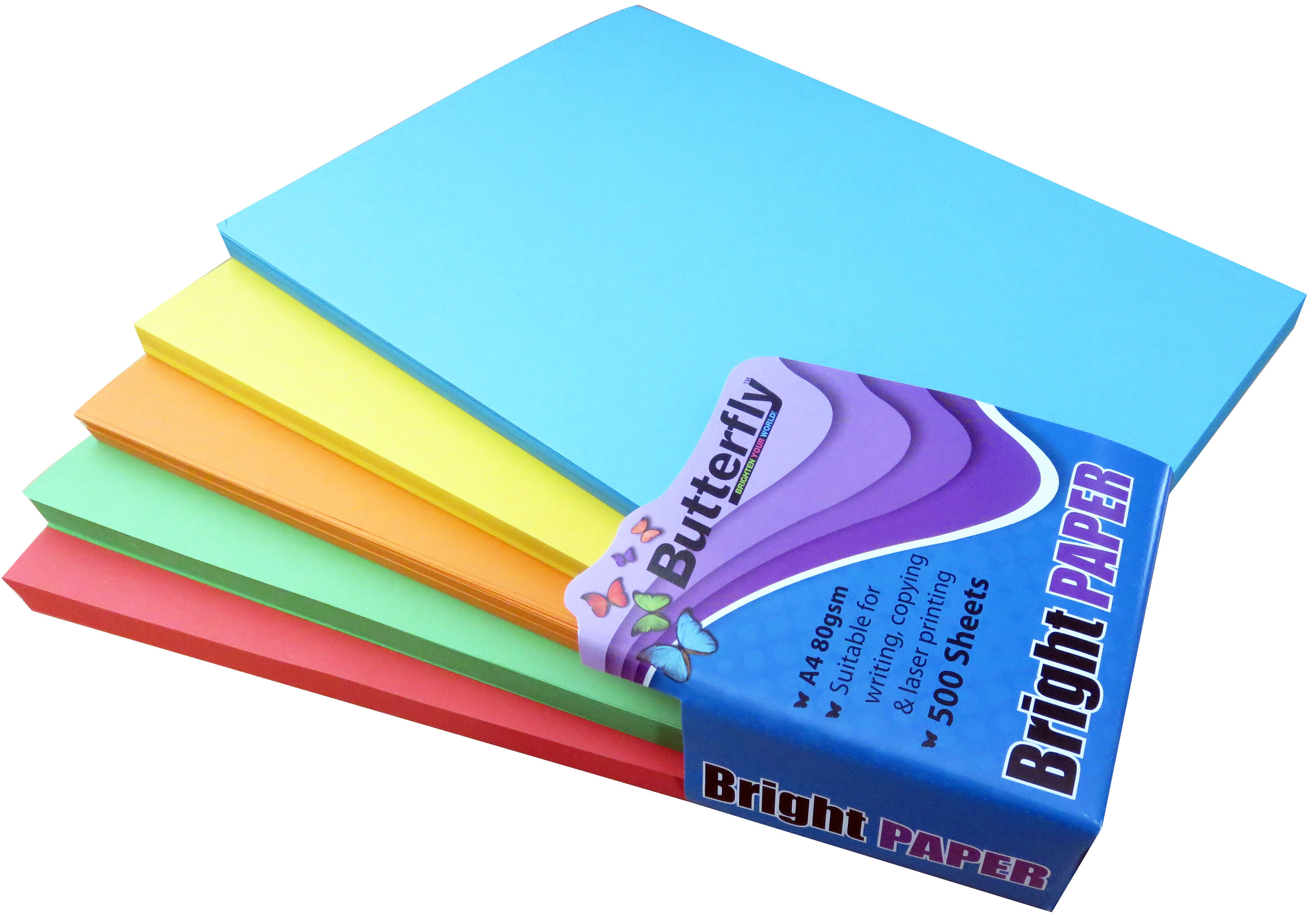 Mixed A4 Bright Paper - Pack of 500 (100 of Each Colour)