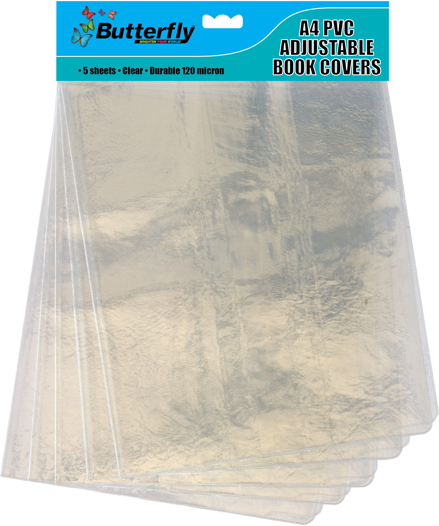 A4 PVC Adjustable Book Covers - Clear 5 Pack 120 Micron
