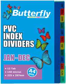 A4 File Dividers - 140 Micron - Jan-Dec