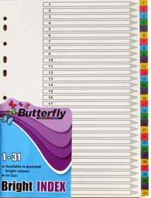 A4 File Dividers Bright Board - 31 Tab 1-31