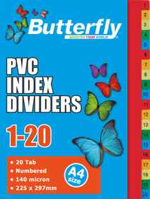 A4 File Dividers - 140 Micron - Numbered 1-20