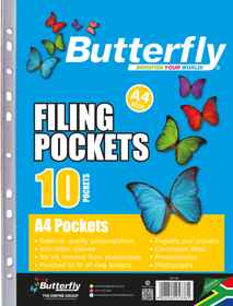 Butterfly Filing Pockets - A4 10's