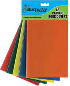 A5 Plastic Book Covers - Assorted Colours - 5 Pack 140 Micron