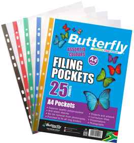 Butterfly Filing Pockets - A4 25's Mixed Colours