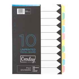 Croxley File Divider Board 10 Tab