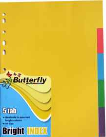 A4 File Dividers Bright Board - 5 Tab
