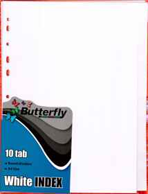 A4 File Dividers White Board - 10 Tab
