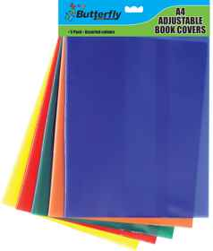 A4 Adjustable Book covers - Assorted Colours - 5 Pack