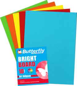 Assorted A4 Bright Board - Pack of 10