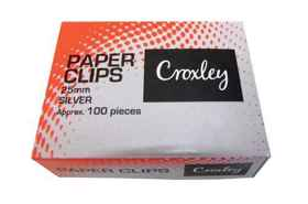 Croxley Paper Clips Small Silver 25mm Box 100