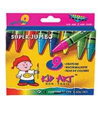 Kid Art Super Jumbo Wax Crayons 9's
