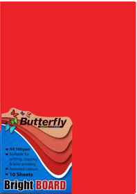 A4 Bright Board - Pack of 10 Red