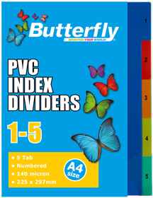 A4 File Dividers - 140 Micron - Numbered 1-5