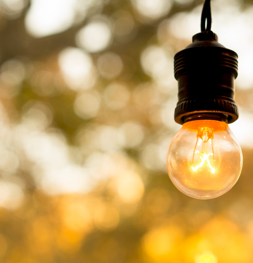 Photo of vintage style lightbulb outdoors
