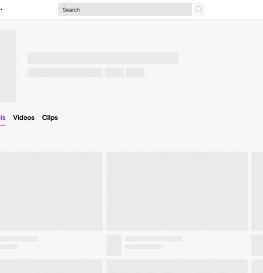Twitch.tv skeleton view UI