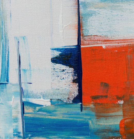 Abstract painting with blue, white and orange
