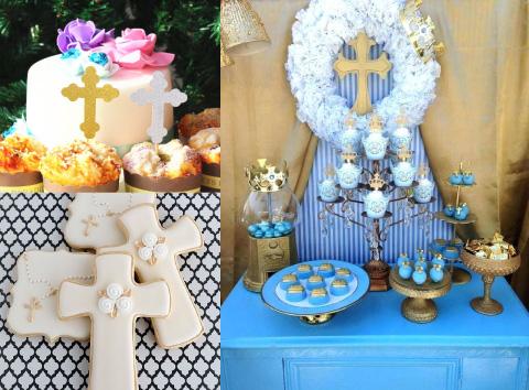 decoracion y postres de cruz para bautizo