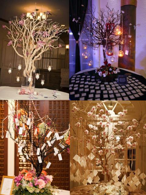 centros de mesa con árbol de los deseos para xv años o boda